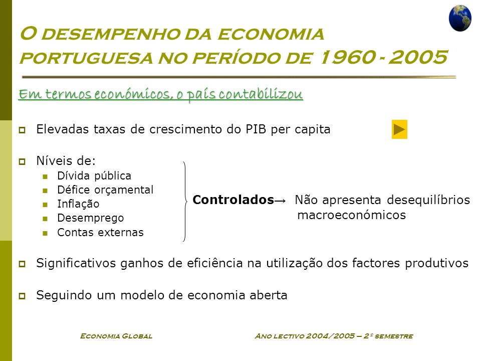 O desempenho da economia portuguesa no período de 1960 - 2005
