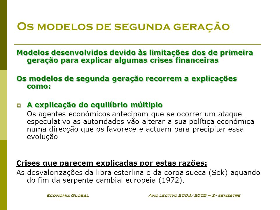 Os modelos de segunda geração
