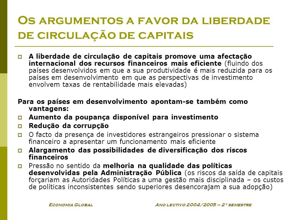 Os argumentos a favor da liberdade de circulação de capitais