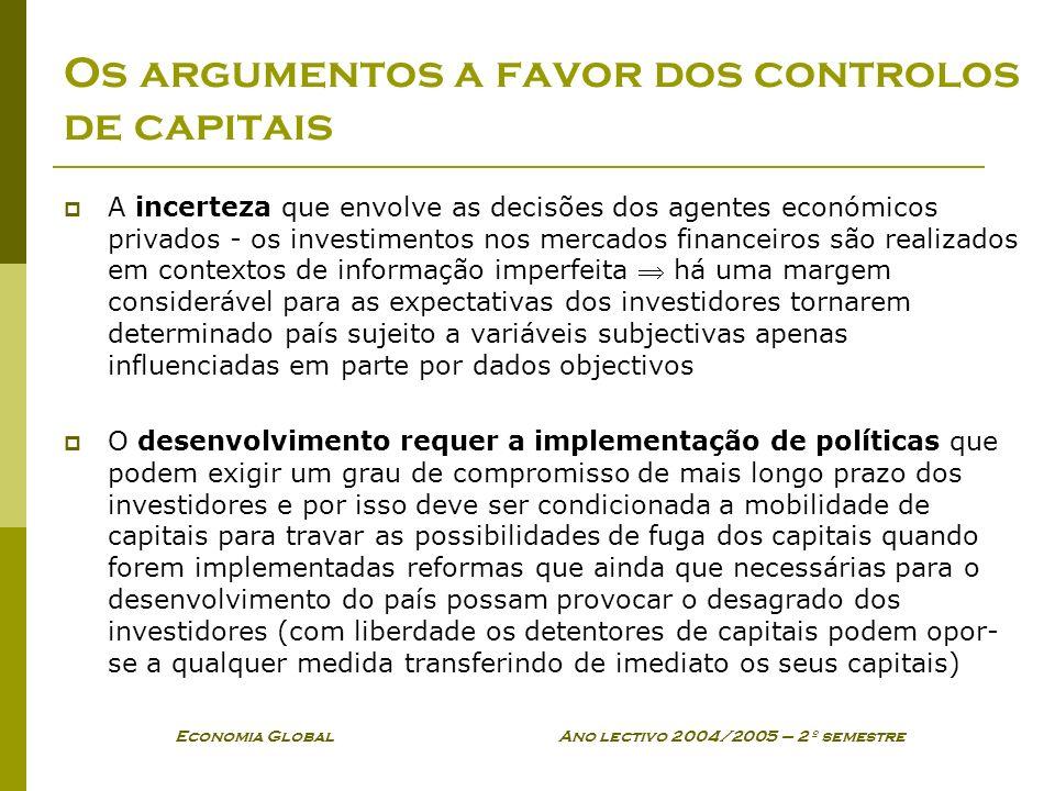 Os argumentos a favor dos controlos de capitais