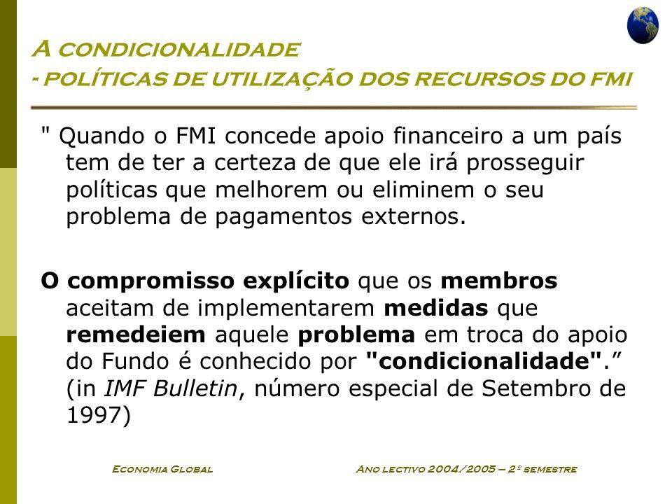 A condicionalidade - políticas de utilização dos recursos do fmi