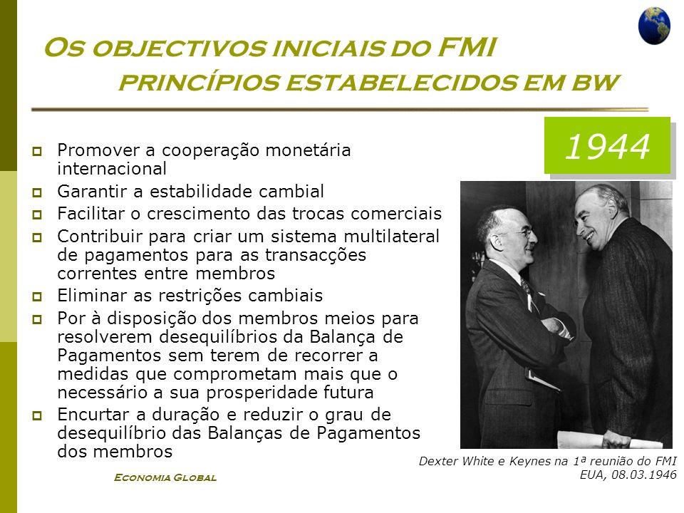 Os objectivos iniciais do FMI princípios estabelecidos em bw