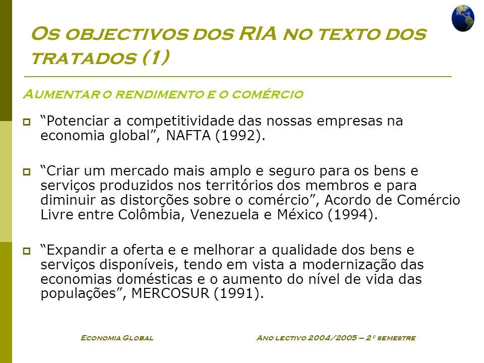 Os objectivos dos RIA no texto dos tratados (1)