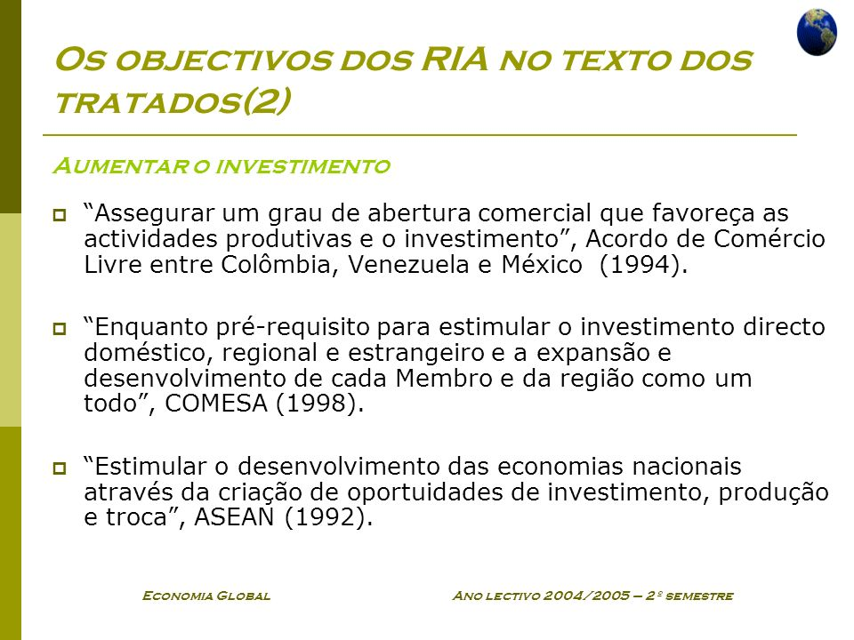 Os objectivos dos RIA no texto dos tratados(2)