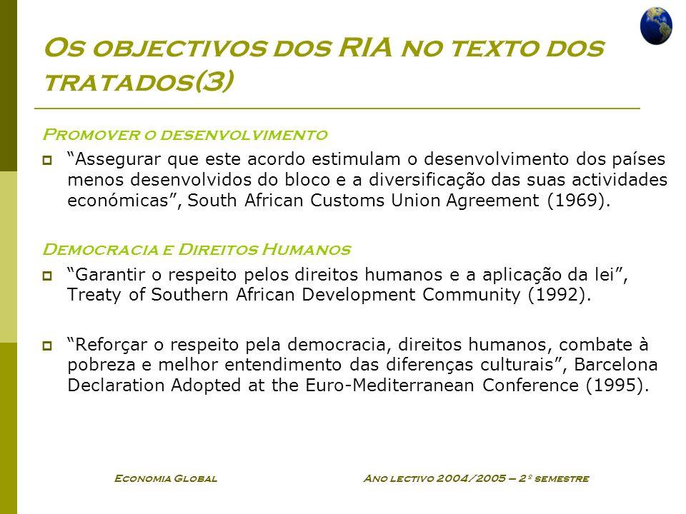 Os objectivos dos RIA no texto dos tratados(3)