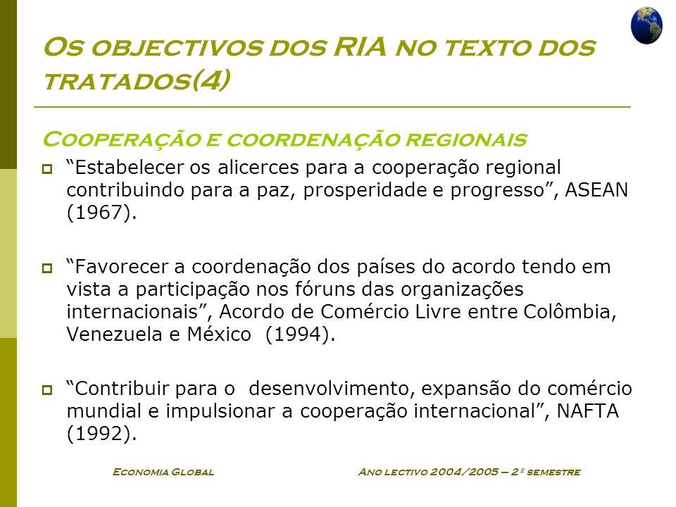 Os objectivos dos RIA no texto dos tratados(4)