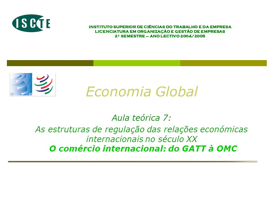 Economia Global Aula teórica 7: