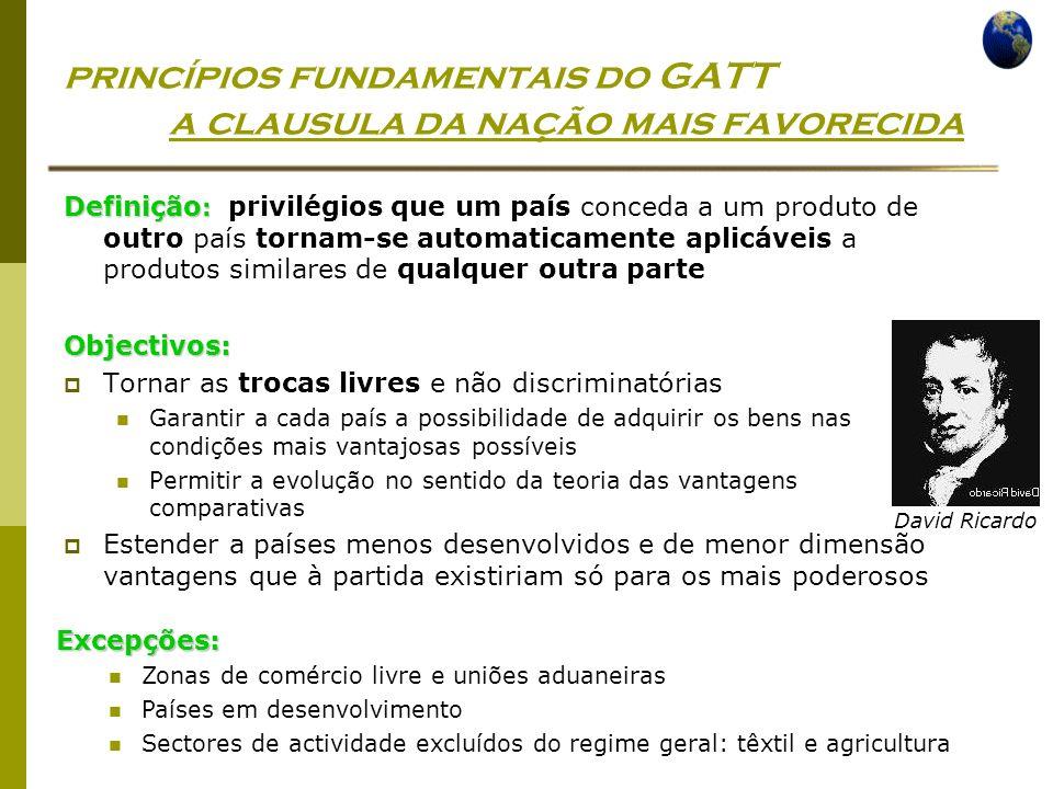 princípios fundamentais do GATT a clausula da nação mais favorecida