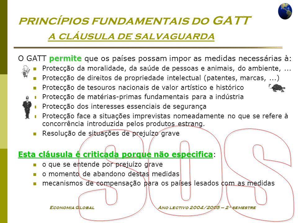 princípios fundamentais do GATT a cláusula de salvaguarda