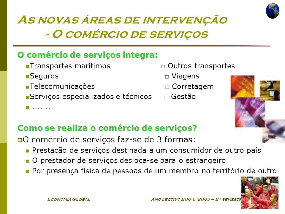 As novas áreas de intervenção - O comércio de serviços