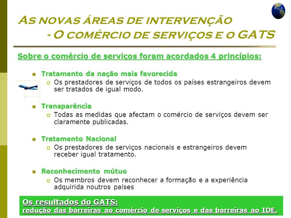 As novas áreas de intervenção - O comércio de serviços e o GATS