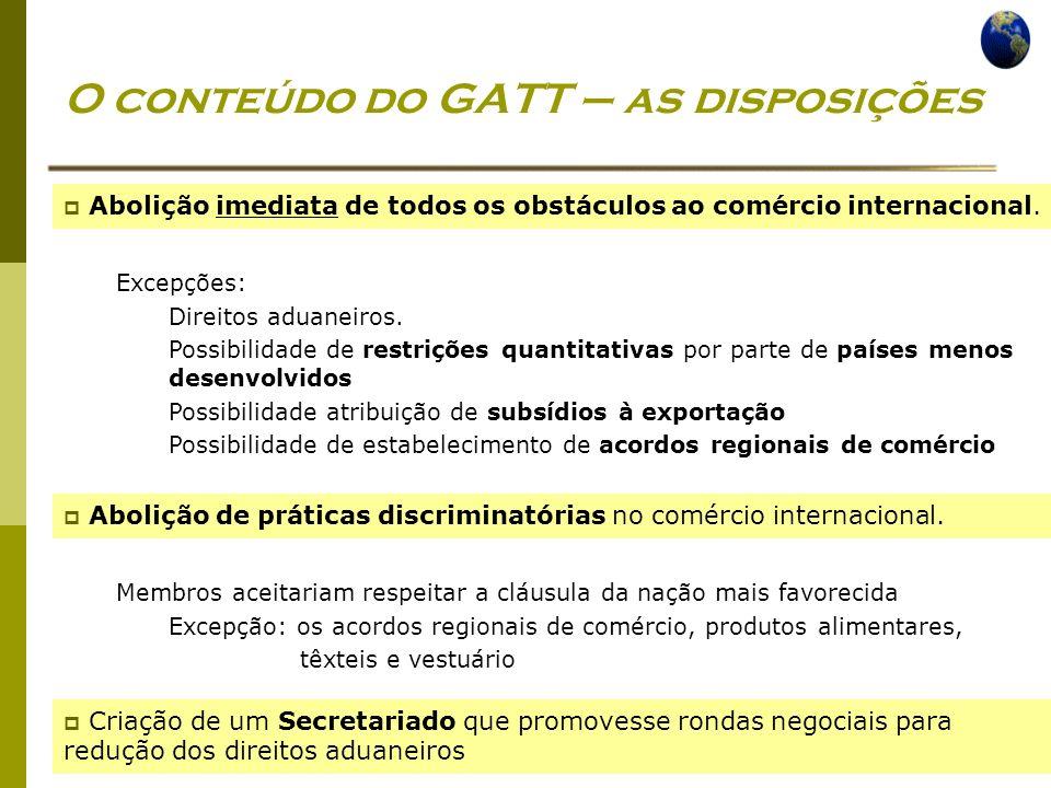 O conteúdo do GATT – as disposições