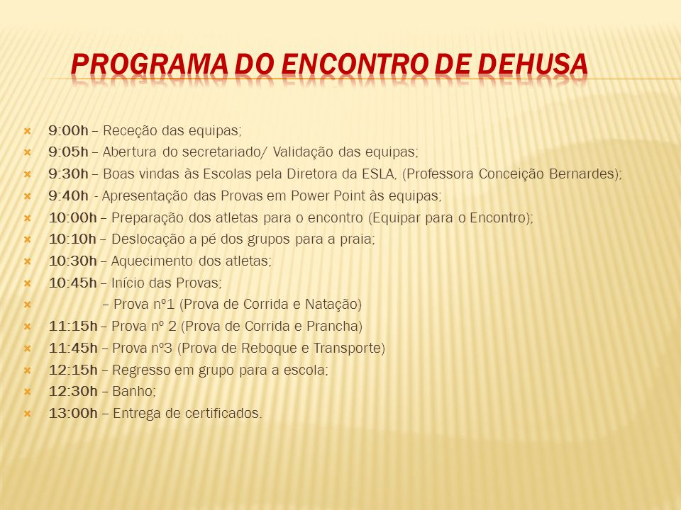Programa do Encontro de DeHuSa