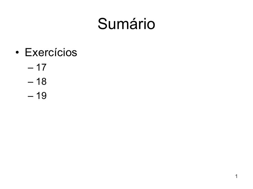 Sumário Exercícios 17 18 19