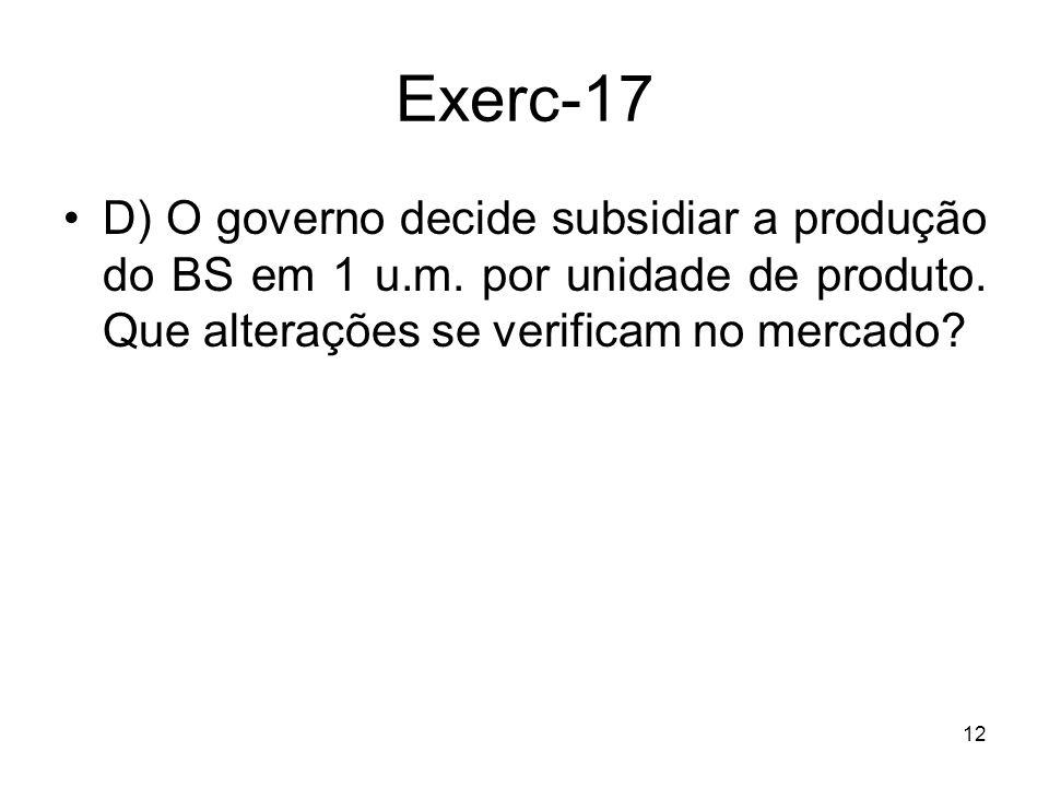 Exerc-17 D) O governo decide subsidiar a produção do BS em 1 u.m.