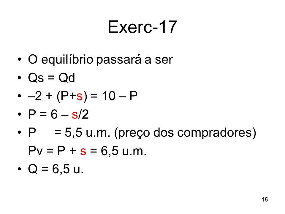 Exerc-17 O equilíbrio passará a ser Qs = Qd –2 + (P+s) = 10 – P