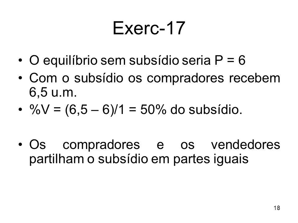 Exerc-17 O equilíbrio sem subsídio seria P = 6