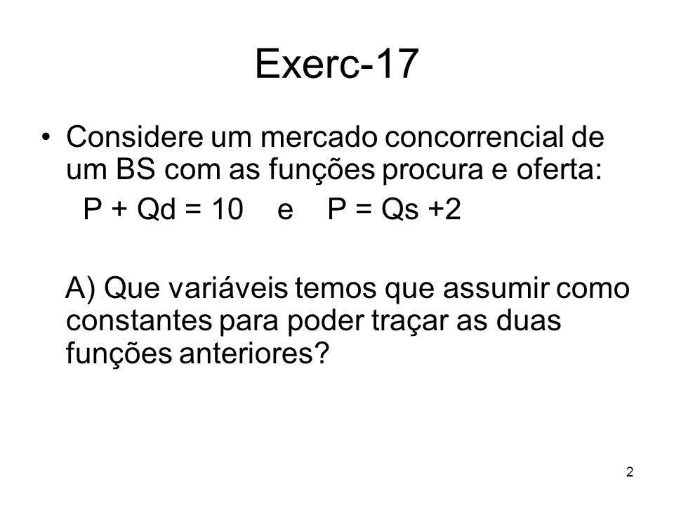 Exerc-17 Considere um mercado concorrencial de um BS com as funções procura e oferta: P + Qd = 10 e P = Qs +2.