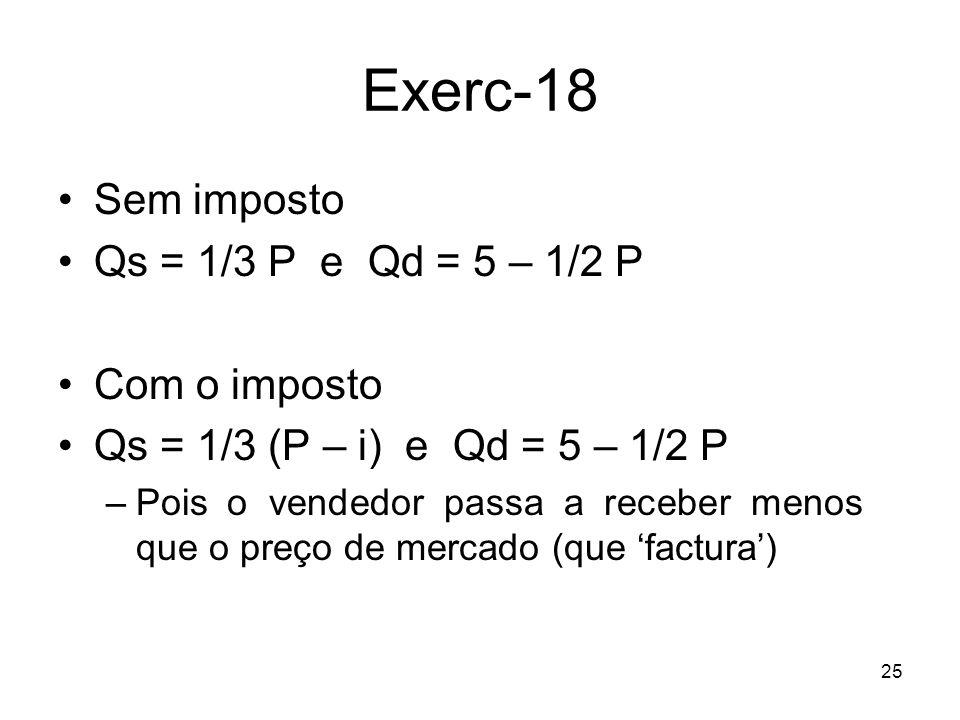 Exerc-18 Sem imposto Qs = 1/3 P e Qd = 5 – 1/2 P Com o imposto
