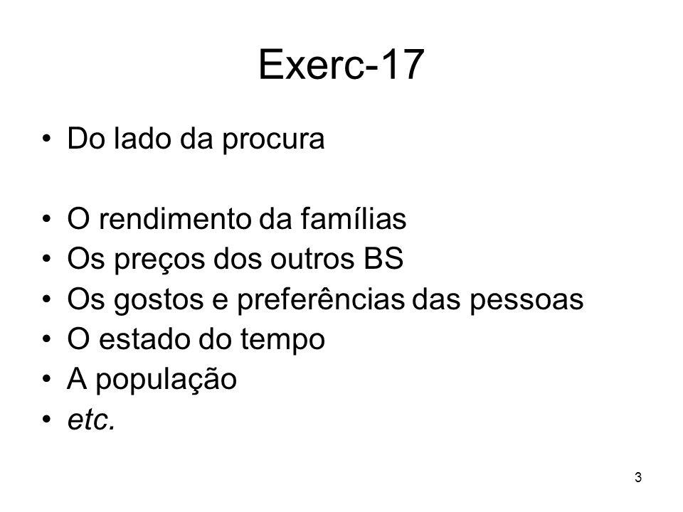 Exerc-17 Do lado da procura O rendimento da famílias
