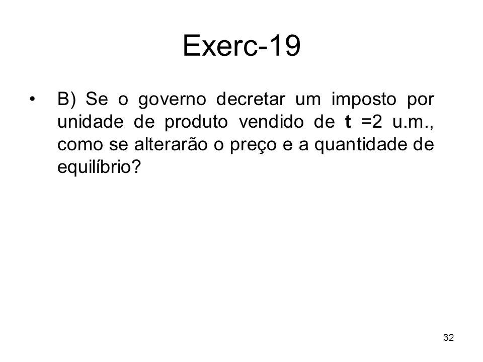 Exerc-19 B) Se o governo decretar um imposto por unidade de produto vendido de t =2 u.m., como se alterarão o preço e a quantidade de equilíbrio