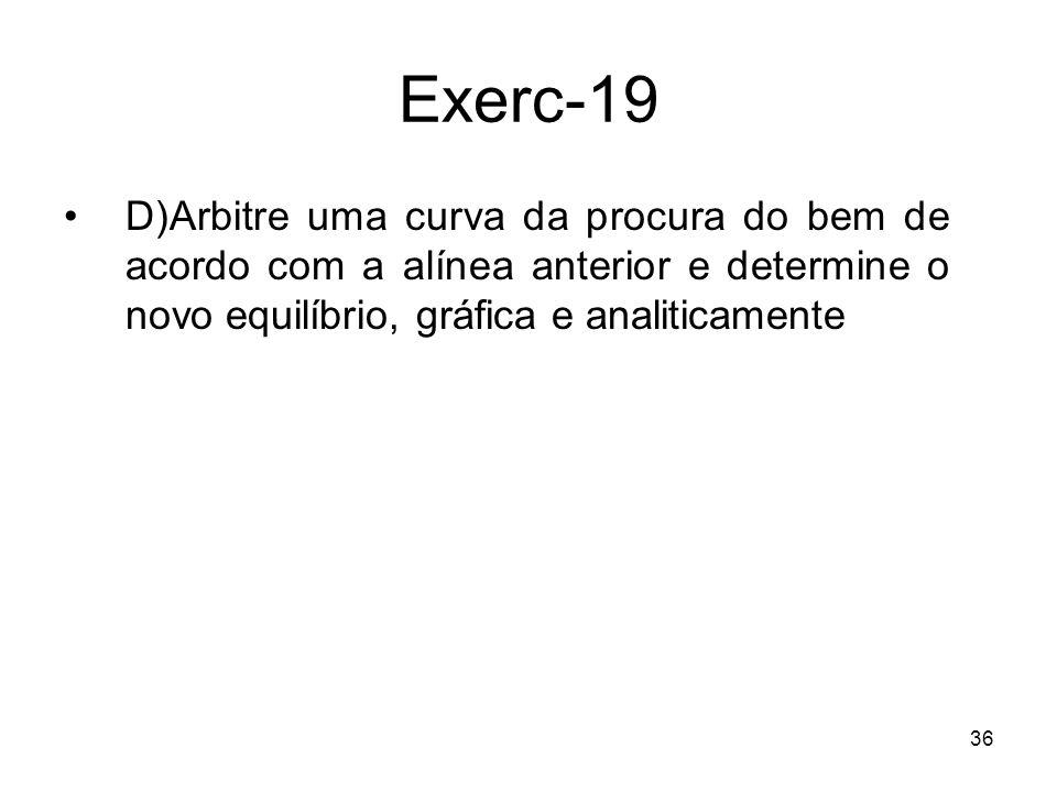 Exerc-19 D) Arbitre uma curva da procura do bem de acordo com a alínea anterior e determine o novo equilíbrio, gráfica e analiticamente.