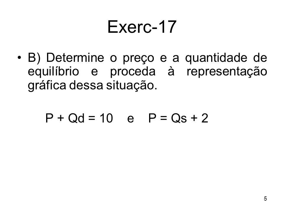 Exerc-17 B) Determine o preço e a quantidade de equilíbrio e proceda à representação gráfica dessa situação.