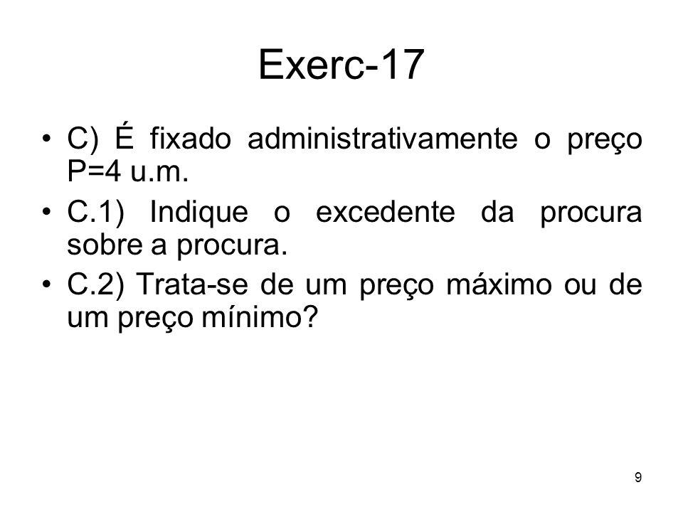 Exerc-17 C) É fixado administrativamente o preço P=4 u.m.