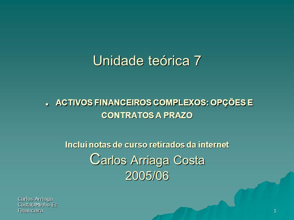 Unidade teórica 7 . ACTIVOS FINANCEIROS COMPLEXOS: OPÇÕES E CONTRATOS A PRAZO Inclui notas de curso retirados da internet Carlos Arriaga Costa 2005/06