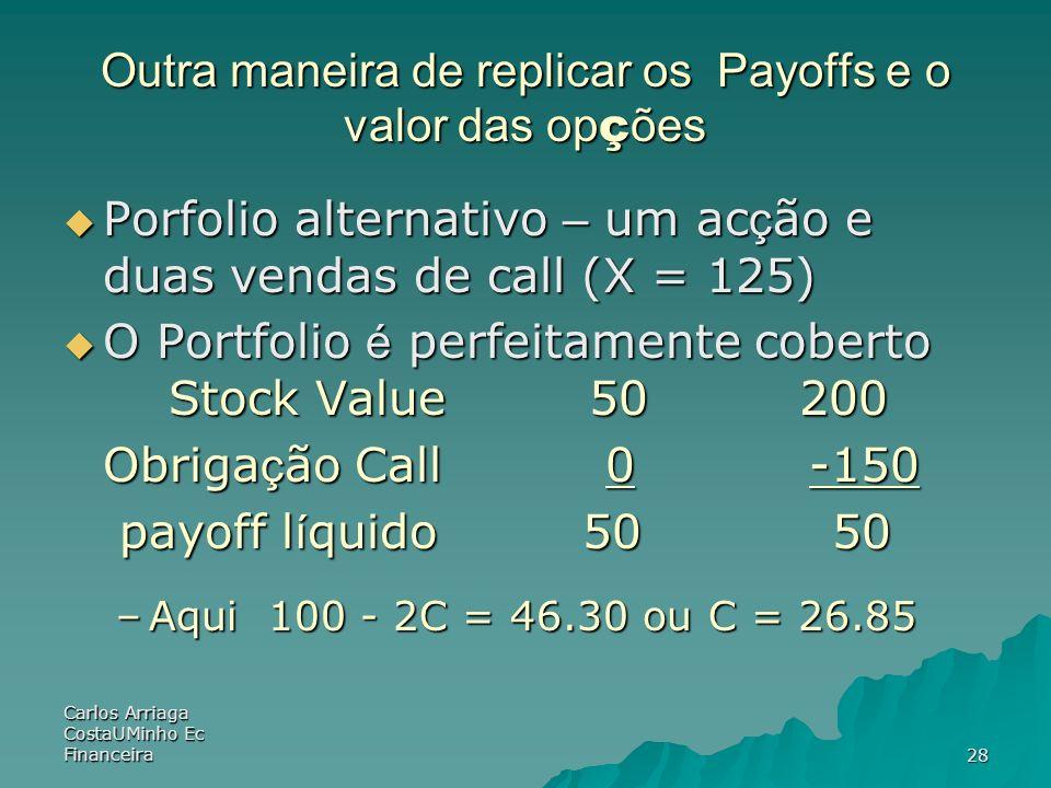 Outra maneira de replicar os Payoffs e o valor das opções