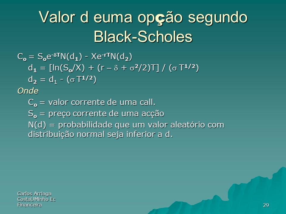 Valor d euma opção segundo Black-Scholes