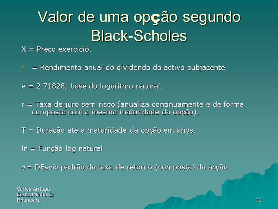 Valor de uma opção segundo Black-Scholes