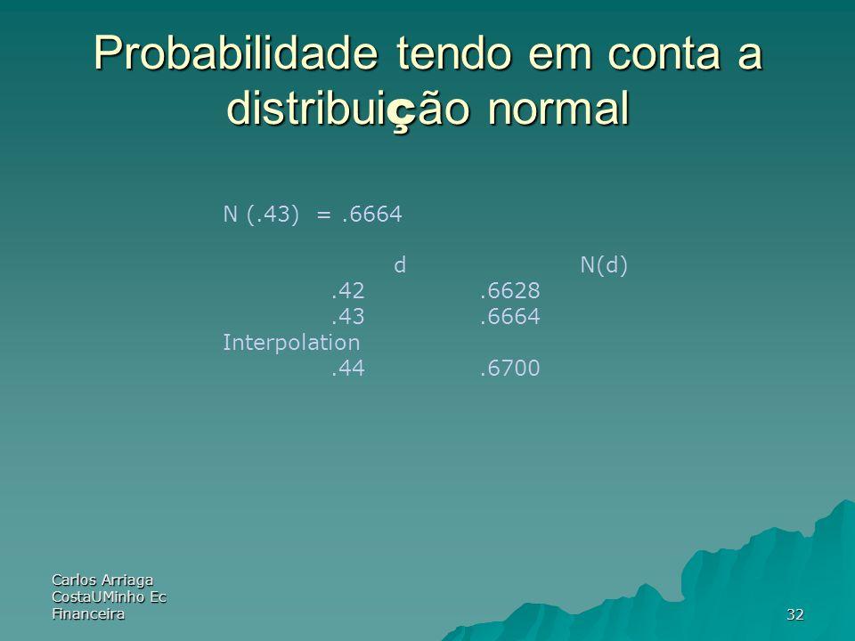 Probabilidade tendo em conta a distribuição normal