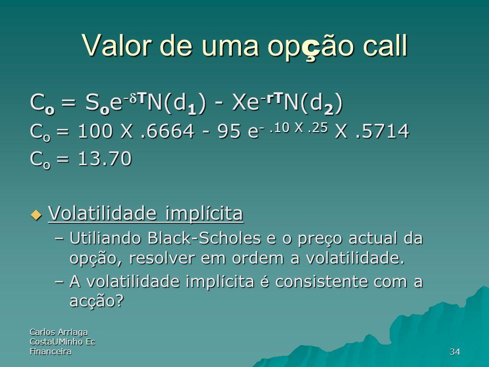 Valor de uma opção call Co = Soe-dTN(d1) - Xe-rTN(d2)