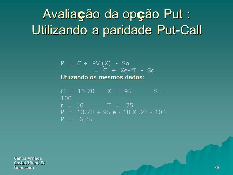 Avaliação da opção Put : Utilizando a paridade Put-Call