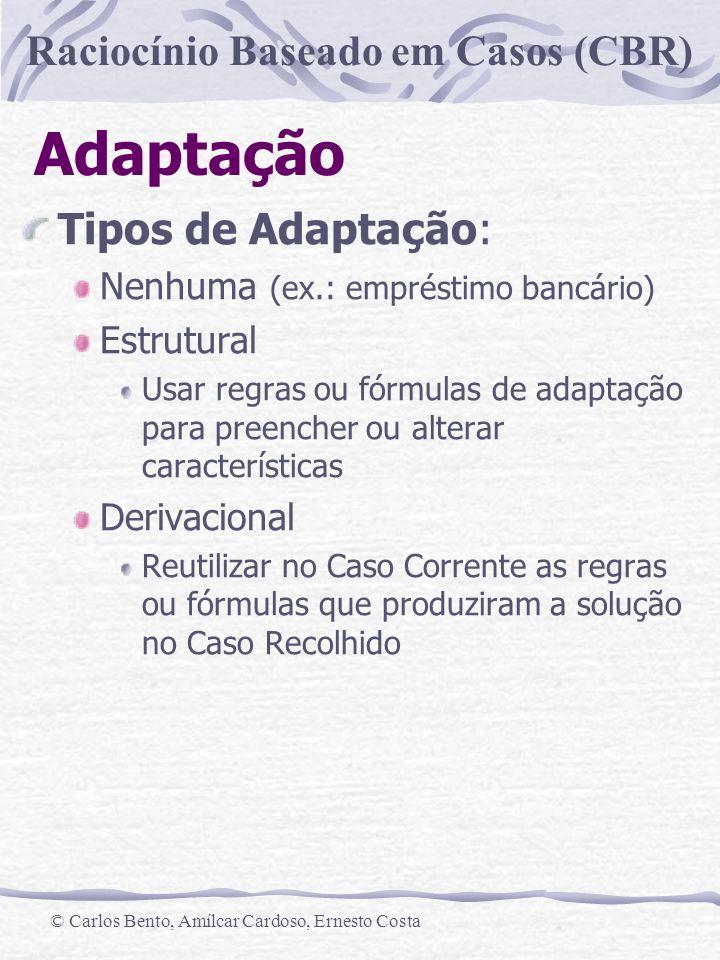Adaptação Tipos de Adaptação: Nenhuma (ex.: empréstimo bancário)