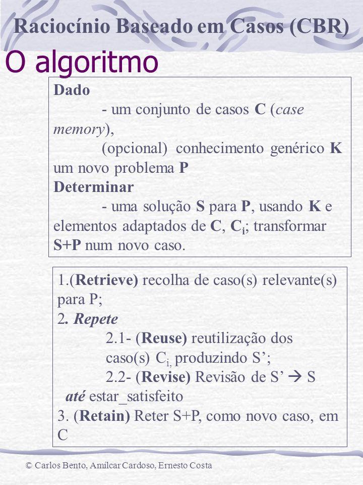 O algoritmo Dado - um conjunto de casos C (case memory),