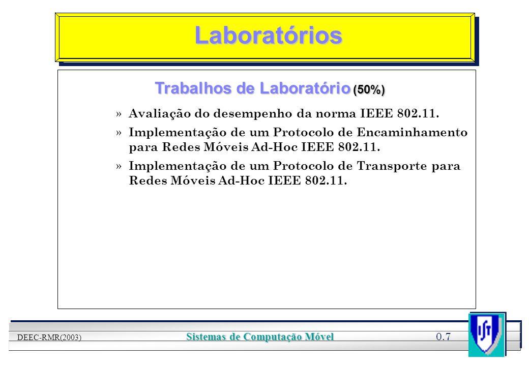 Trabalhos de Laboratório (50%) Sistemas de Computação Móvel