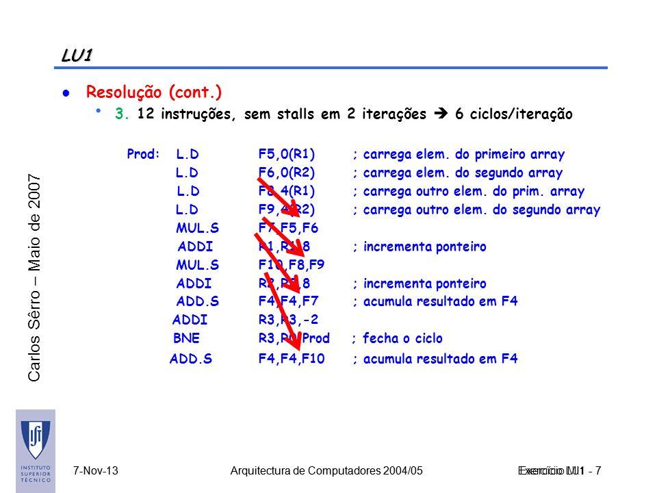 LU1 Resolução (cont.) 3. 12 instruções, sem stalls em 2 iterações  6 ciclos/iteração. Prod: L.D F5,0(R1) ; carrega elem. do primeiro array.