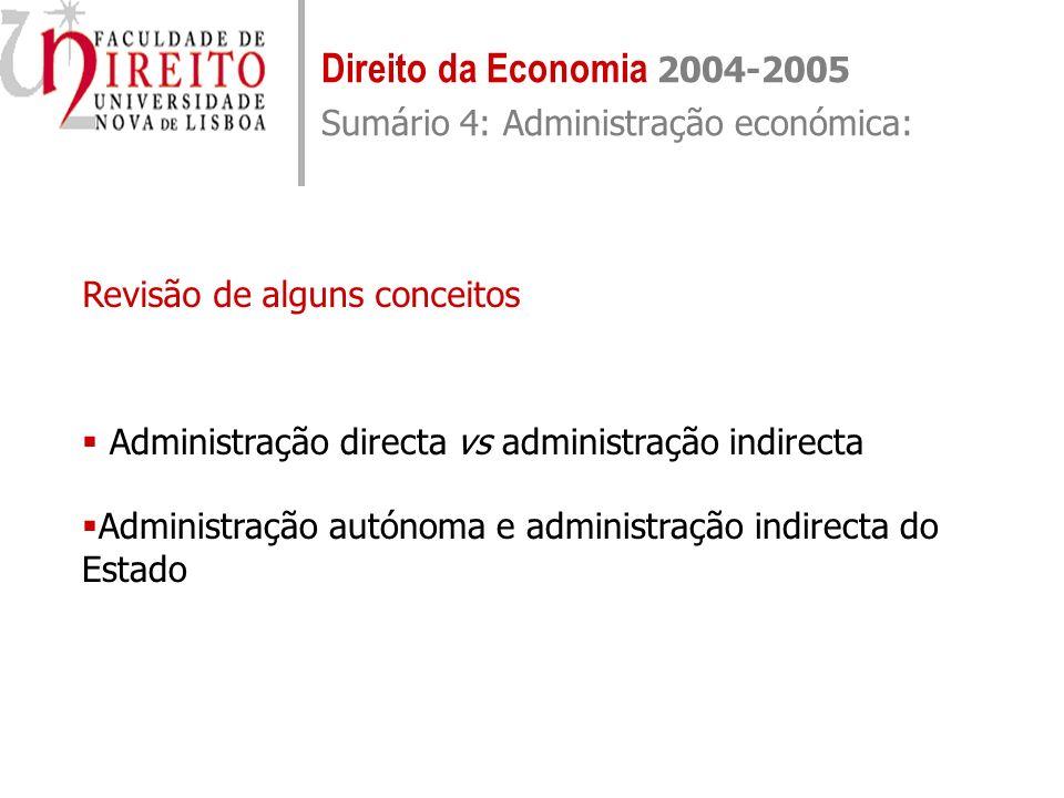 Direito da Economia 2004-2005 Sumário 4: Administração económica: