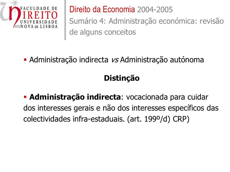 Direito da Economia 2004-2005 Sumário 4: Administração económica: revisão de alguns conceitos
