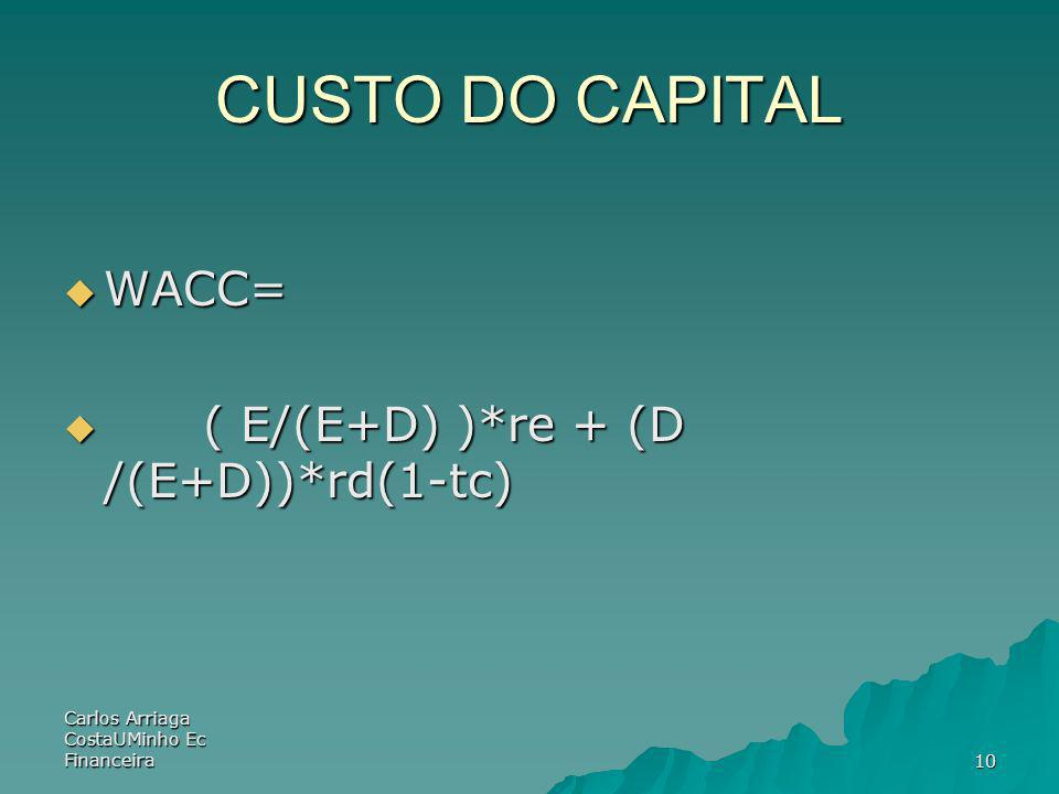 CUSTO DO CAPITAL WACC= ( E/(E+D) )*re + (D /(E+D))*rd(1-tc)