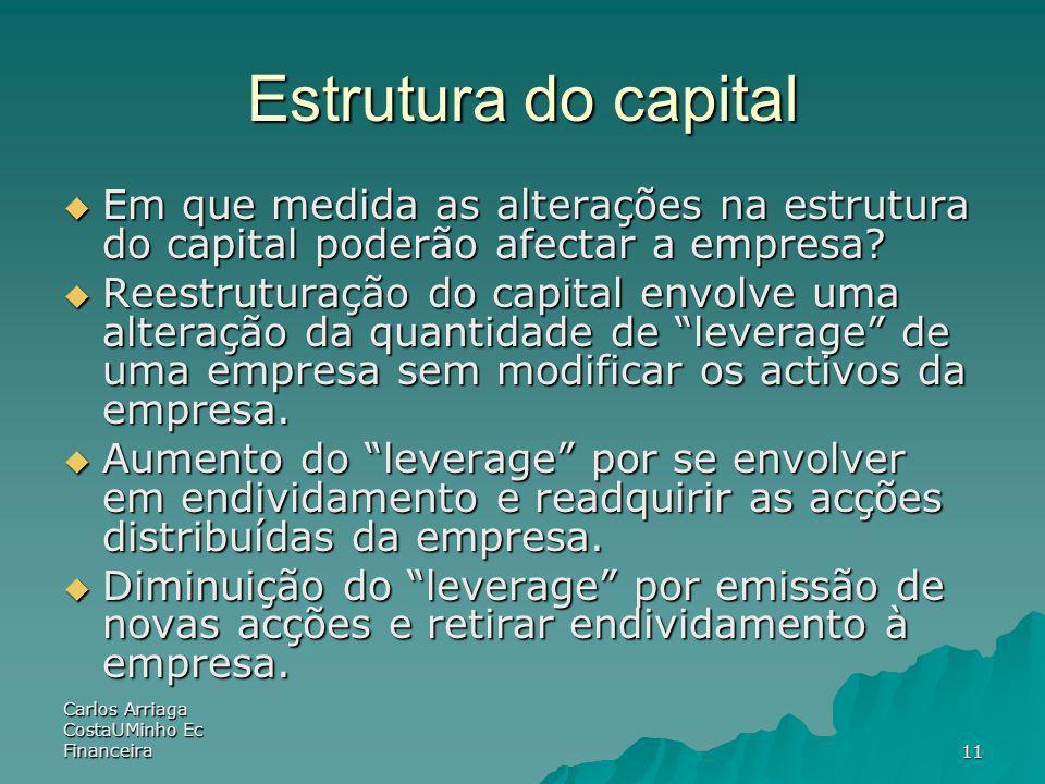 Estrutura do capital Em que medida as alterações na estrutura do capital poderão afectar a empresa