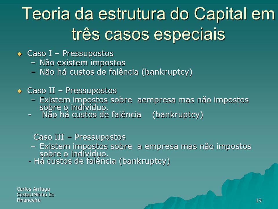 Teoria da estrutura do Capital em três casos especiais