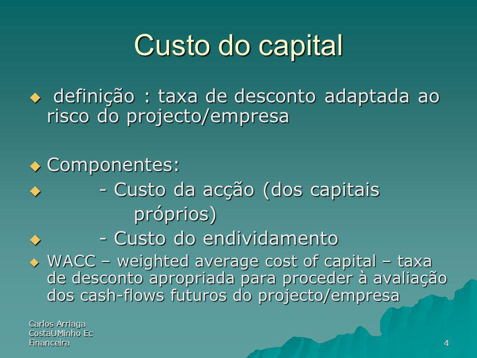 Custo do capital definição : taxa de desconto adaptada ao risco do projecto/empresa. Componentes: - Custo da acção (dos capitais.