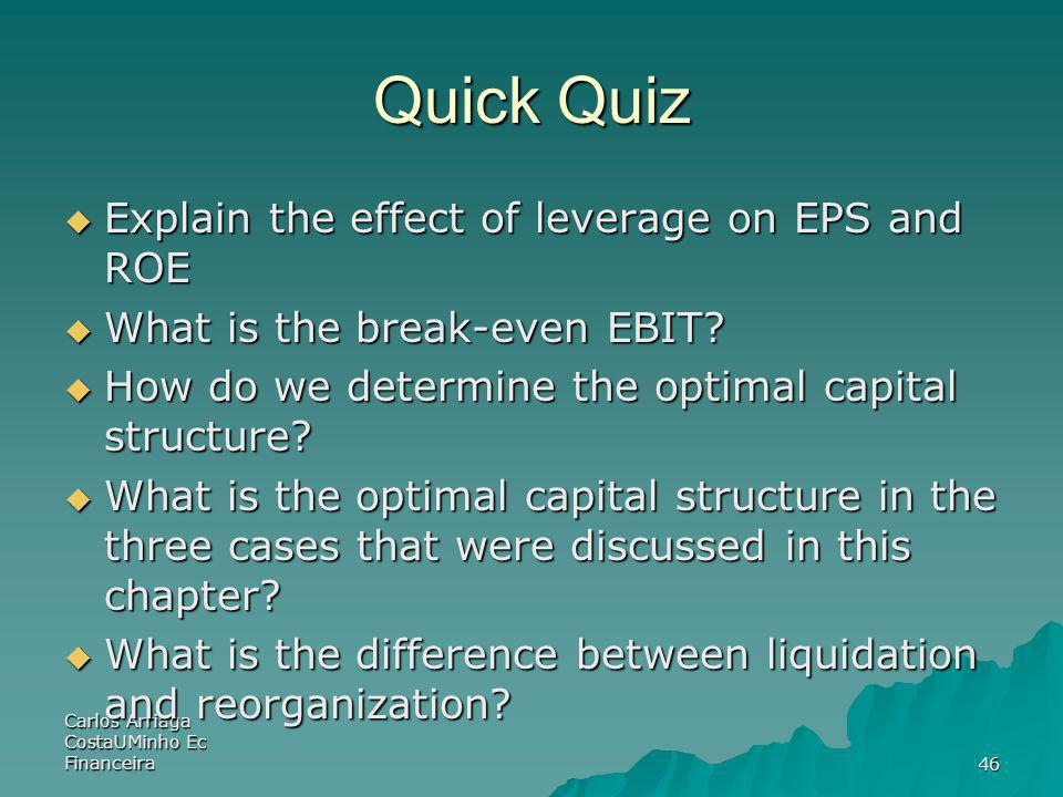 Quick Quiz Explain the effect of leverage on EPS and ROE