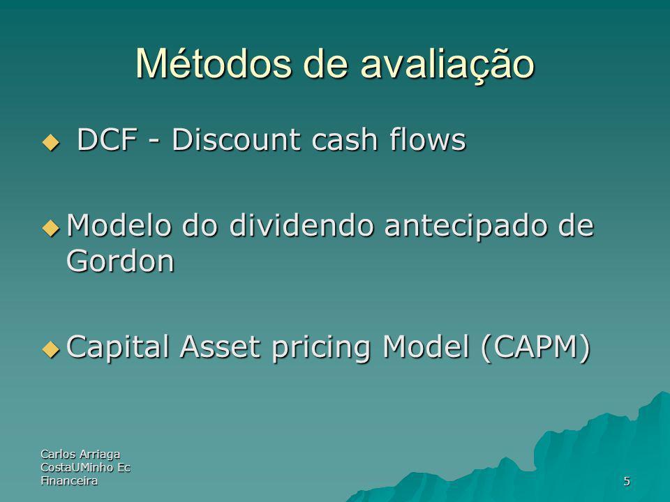 Métodos de avaliação DCF - Discount cash flows