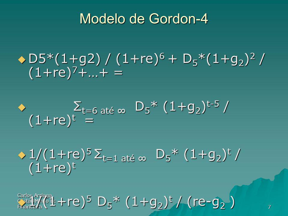Modelo de Gordon-4 D5*(1+g2) / (1+re)6 + D5*(1+g2)2 / (1+re)7+…+ =
