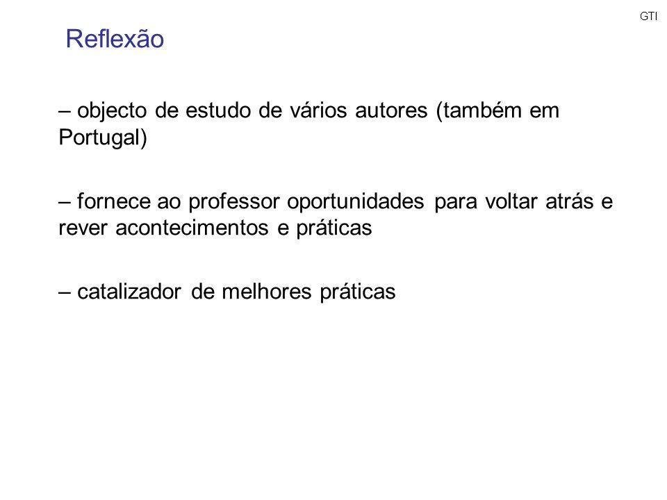 Reflexão objecto de estudo de vários autores (também em Portugal)