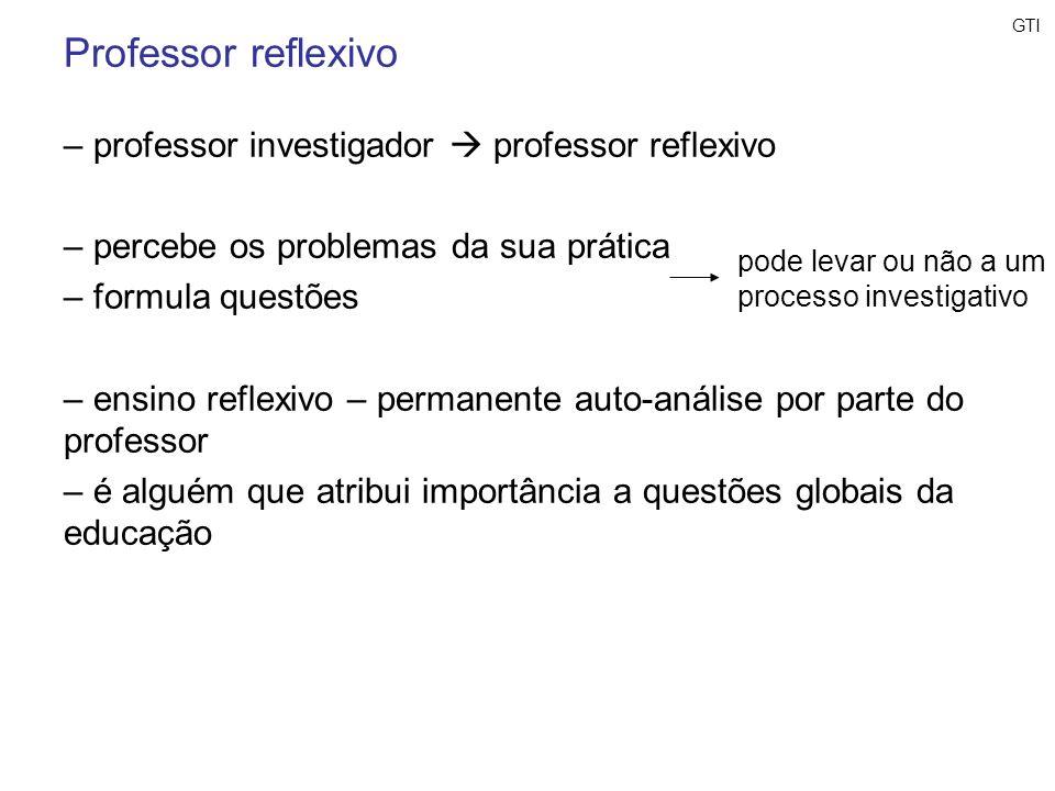 Professor reflexivo professor investigador  professor reflexivo